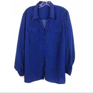 Vintage Blue/Black Long Sleeve Button Down